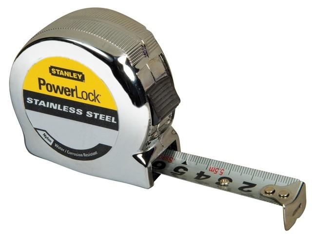 78 On Tape Measure: Stanley Powerlock Stainless Steel 8m 0-33-301