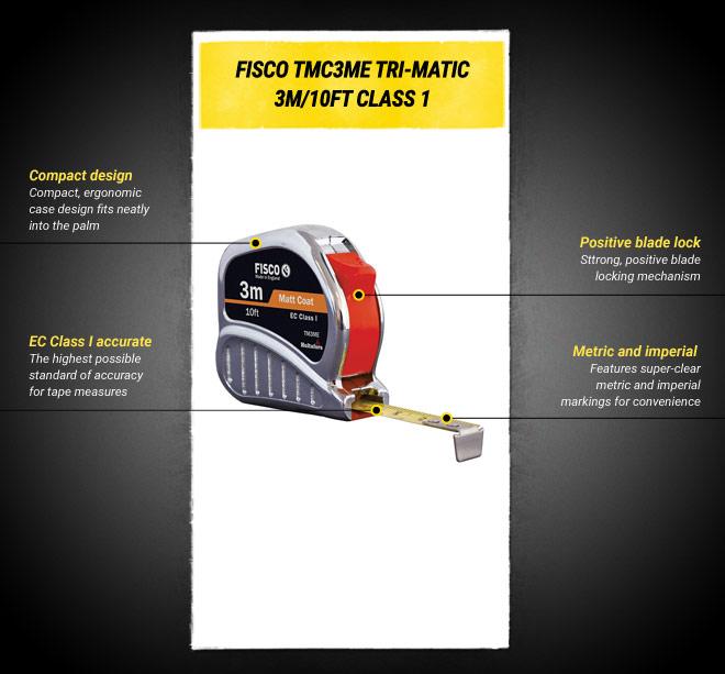 Fisco TMC3ME Chrome Tri-Matic Tape 3m / 10ft   Tape Measures