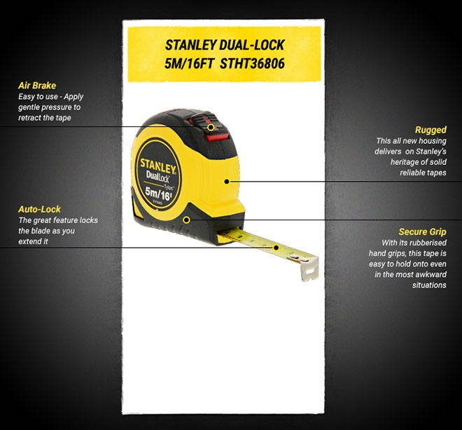 Stanley Dual Lock 5m 16ft Auto Lock Tape
